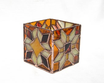 Autumn Candleholder Stained Glass Candleholder in Brown, Burgundy, and Yellow Geometric Candle Holder Stained Glass Glass Candle Holder