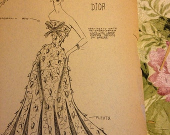 Vintage edyth sparag fashion sketch print 1950s ballgown fashion dior