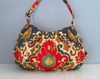 Large Shoulder Bag, Pleated Purse, Hobo Handbag, Ikat Shoulder Bag, Red Handbag, Fabric Shoulder Bag