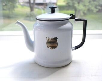 Vintage Enamelware White Teapot With Original Label Black Trim Vintage Enamel Ware Country Farmhouse Rustic Kitchen