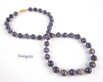 Beaded necklace Purple Agate Sodalite