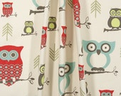 Owl Window Valance - Hooty Formica Macon - Blue Green Red on Natural, Premier Prints - Choose Size : 50 x 16,  50 x 18