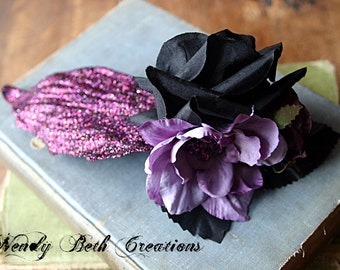 Twilight Plum Hair Clip Fascinator - Belly Dance, Wedding, Bridal, Prom, Vegan, ATS, Tribal Fusion, Hair Garden, Purple, Black