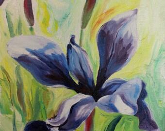 """ORIGINAL Blue Iris painting oil bright colors 9""""x 12"""""""