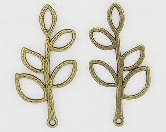 Leaf Charm/Connector - Set of 10 - Antique Brass - #SH164