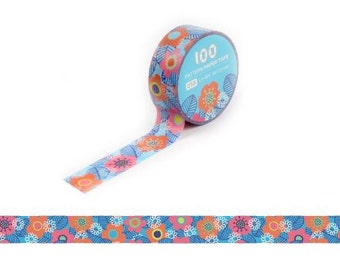 Masking Tape / Washi Tape / Deco Tape - 15mm - Bright Flowers on Blue