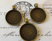 20 1 Inch Round Antique Bronze Pendant Trays 25mm Blank Settings