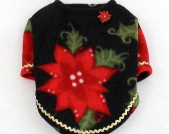 Christmas Dog Fleece Sweaters Poinsettias