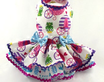 Dog Dress, Dog Harness Dress, Dog Fashion for Small Dog, Ruffle Dress, Cotton Dress, Custom Dress for Dogs, Princess, Carriage, Pink