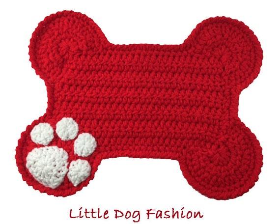 Free Crochet Pattern For Dog Bone Mat : Feeding Mats for Dogs Crochet Dog Bone Red by LittleDogFashion