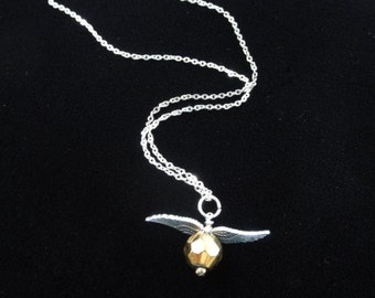 """Golden Snitch Necklace- Harry Potter Necklace, Quidditch Necklace, Golden Snitch Pendant Charm, Sterling Silver 18"""" Chain Necklace Handmade"""