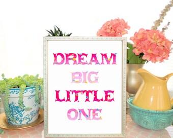 Dream Big Nursery Art Print, Hot Pink Ombre Nursery, Baby Girl Nursery, Toddlers Room, Nursery Wall Decor, Poster