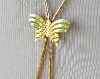 Lariat Style Butterfly Necklace Gold Tone