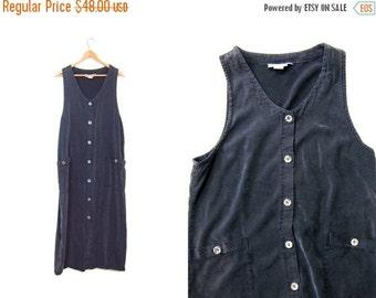 90s Tencel Gray Black Dress Loose Fit Maxi Sleeveless Vintage Frock with POCKETS Button Up Sun Dress 1990s Simple Basic Minimal Dress Medium