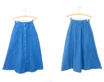 80s Blue Button Front Skirt High Waist Midi Skirt Boho Basic Long Skirt Side Pockets NORMCORE Preppy Bohemian 1980s Plain Skirt Vintage XS