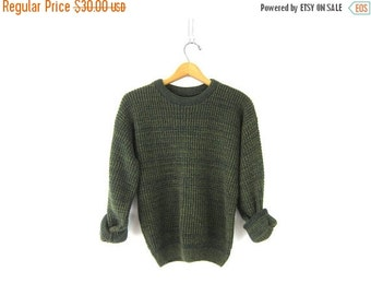 Oversized Slouchy Sweater 90s Chunky Marled green Knit Boyfriend Cozy Preppy Basic Pullover Simple Vintage Mens Small