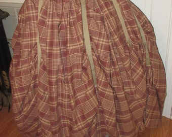 One of a kind soft plaid country , celtic ,  victorian skirt med large  xl  plus sizes 2xl 3xl, 4xl super full  bottom adjustable waist