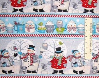 Christmas Fabric - All Bundled Up Snowman Stripe Gray Blue - Wilmington YARD