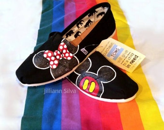 READY TO SHIP Womens 6 Black Toms with handmade Minnie and Mickey print
