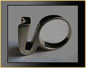 S'PALIU Avant Garde Sculptural Sterling Silver Modernist Ring,Unique Design,Spain,1960s,Vintage Jewelry,Women