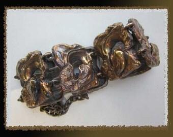 Bronze VOLCANO-Brutalist Bronze Sculpted Links Bracelet,Finland,Modernist Jewelry,Burnished Patina,Vintage Jewelry,Women