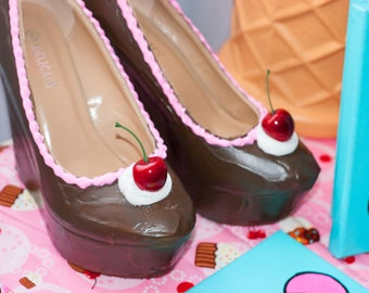 Chocolate Wedges Dessert Shoes Custom Made Bakery Shoes