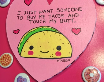 "Heart Shaped Taco Painting, Cute Valentine 6""x""6"""