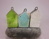 Less Is More...Minimalist House Pendant / Focal Bead / Ornament...Set of 3...Green Copper Blue White