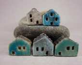 5 Saggar Fired Miniature House Beads...Blue Mix