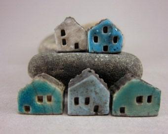 5 Saggar Fired Miniature House Beads...Blue Mix