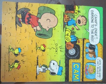 Vintage Peanuts Gang  Summer Camp Puzzle Complete with Box
