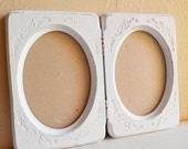 Shabby Chic White Double Oval Picture Frame Folding Wooden Distressed Wood