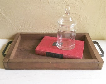 Rustic Farmhouse Style Vintage Wood Tray Wooden with Metal Handles