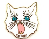 """CRY BABY- 1"""" White Hard Enamel Gold Lapel Pin Brooch"""