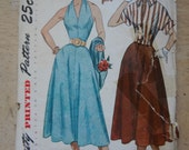 1950s Halter, Skirt, and Jacket Vintage Sewing Pattern, Simplicity 3238, bust 30