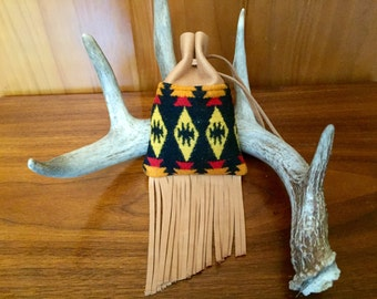 Fringed Possibles Bag Medium / Tobacco Bag / Medicine Bag / Drawstring Bag Wool and Leather Handcrafted With Pendleton Woolen Mills Fabric