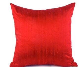 RUBY Silk Pillow - Ruby Silk Pillow - Square Silk Pillow - Red Lumbar Pillow - Burgundy Dupioni Silk - Rectangular Silk Pillow - Dupioni