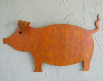Metal Wall Art Pig Sculpture Animal Wall Art Barnyard Wall Decor Indoor Outdoor Pumpkin Orange Marigold Yellow Recycled Metal Wall Art 9x13