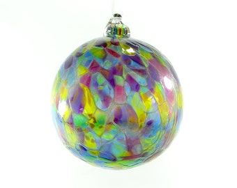Handblown Glass Ornament in Purples, Blues, Greens and Pinks