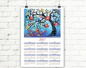 2017 Calendar, Sky Blue Cherry Blossom Tree Wall Calendar, Yearly Calendar, New Year Art Calendar Wall Decor, Signed 13x18
