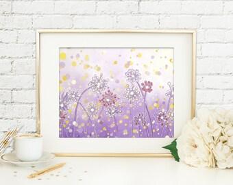 Purple Flower Decor, Dandelion Art Print Nature Wall Art, Lavender Nursery Decor Natural Wall Art