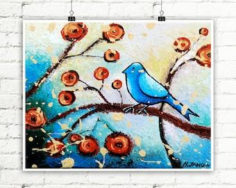 Whimsical Bird Print, Bird Art Wall Decor, Blue Bird of Happiness Wall Art, Folk Art Signed Print