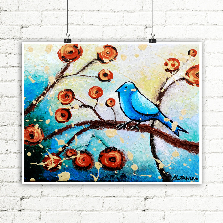 Whimsical bird print bird art wall decor blue bird of for Whimsical decor