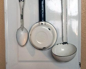 Vintage Kitchen Enamelware Utensil Holder Shabby Decor 1930s
