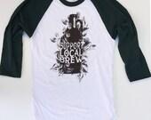 SALE! Men's Local BREW Baseball sleeve t shirt american apparel S M L XL