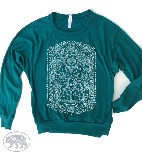 Womens DAY of The DEAD Lightweight Tri-Blend Pullover - american apparel S M L (Color Options)