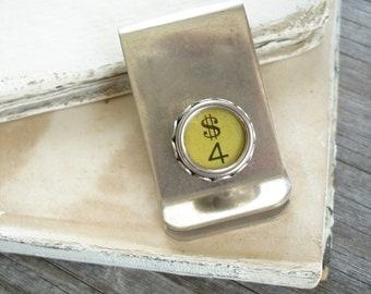 "Typewriter Key Money Clip - ""FOR MONEY"". Number 4 Four / Dollar Sign. Dads Grads Wedding Eco Friendly Gift. Vintage Typewriter Key Jewelry."