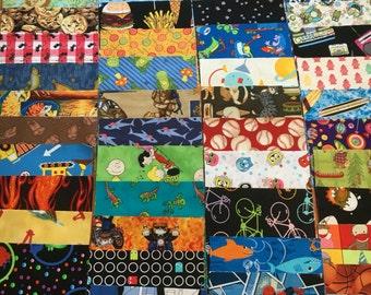 100 6 inch quilt squares ALL BOYS / Gender neutral - Great for I Spy or rag quilt kit / cotton / novelty Lot C