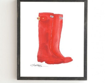 Red Boots - Weathered Framed Wall Art