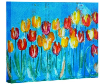 Tulips in Blue on Canvas